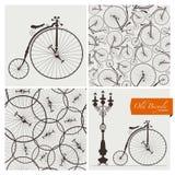 Alte Fahrradschablonen und nahtlose Muster Vektor Abbildung