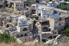 Alte fantastische Häuser in Cappadocia Stockbilder