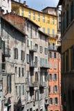 Alte Fassaden in der Mitte von Perugia stockfotografie