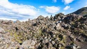 alte Felsen auf Steigung am Laugahraun-Lavafeld Stockbild