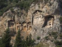 Alte Felsen-Gräber der Könige, Dalyan die Türkei stockbilder