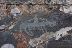 Alte Felszeichnung, menschlich auf Pferd Stockbilder