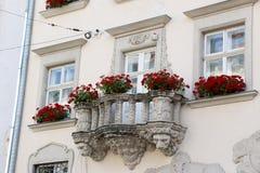 Alte Fenster der Architekturdekoration, Weinleseart, ein Schutzanteil von Fenstern, interessantes Detail Lizenzfreie Stockfotos
