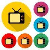 Alte Fernsehikone, Fernsehlogo, Farbsatz mit langem Schatten lizenzfreie abbildung