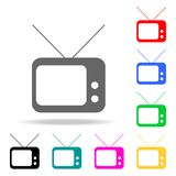 alte Fernsehikonen Elemente von menschliches Netz farbigen Ikonen Erstklassige Qualitätsgrafikdesignikone Einfache Ikone für Webs stock abbildung