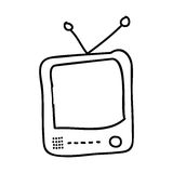 alte Fernsehzeichnung lokalisiertes Ikonendesign Lizenzfreies Stockbild