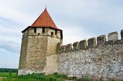Alte Festung auf dem Fluss Dnister im Stadtbieger, Transnistrien Lizenzfreies Stockbild