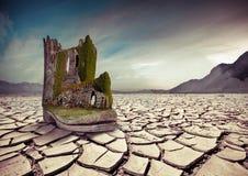 Alte Festung auf dem Stiefel in der Wüste Lizenzfreie Stockbilder