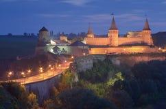 Alte Festung mit Beleuchtung Stockfoto