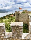 Alte Festungsruinen des Zars Samuel in Ohrid an einem schönen Sommertag, die Republik Mazedonien Lizenzfreies Stockfoto