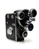 Alte Filmkamera 16 Millimeter mit drei Objektiven Stockbild