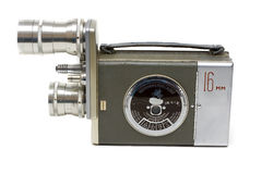 Alte Filmkamera 16 Millimeter mit zwei Objektiven Stockfotografie