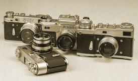 Alte Filmkameras mit Linsen Lizenzfreie Stockfotografie
