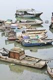 Alte Fischerboote in einem Fluss, Haikou, China Lizenzfreies Stockfoto