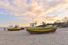 Alte fishboats in Sopot in Polen Lizenzfreie Stockfotos