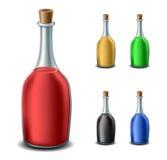 Alte Flasche eingestellt mit verschiedenen Flüssigkeiten Stockfoto