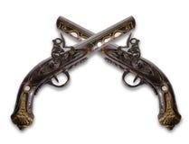 Alte Flintlockpistolen lizenzfreie stockfotos