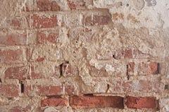 Alte flockige weiße Farbe, die weg einer grungy gebrochenen Wand abzieht Sprünge, Lizenzfreies Stockbild