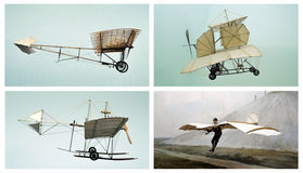 Alte Flugzeuge: Lufttransportcollage Stockfoto