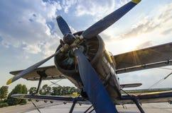 Alte Flugzeugnahaufnahme der Schraube Lizenzfreie Stockfotos