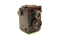 Alte Fotokamera getrennt über einem weißen Hintergrund Lizenzfreies Stockbild