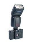 Alte Fotokamera und -blinken Lizenzfreie Stockfotografie