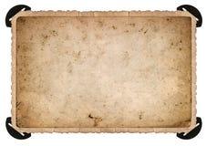 Alte Fotokarte mit Ecke Kpugloe schwarzes Loch auf einem schönen gekopierten Hintergrund Gealtertes Papier Stockfotografie
