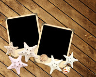 Alte Fotos und Starfishes Stockbilder