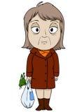 Alte Frau der Karikatur im braunen Mantel Stockfoto
