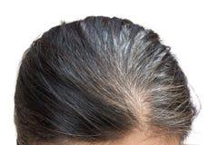 Alte Frau des grauen Haares der Nahaufnahme Lizenzfreies Stockfoto