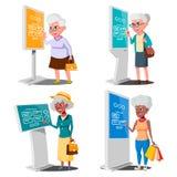 Alte Frau, die ATM, Digital-Terminalvektor verwendet set Lcd-digitale Beschilderung für die Innenanwendung Wechselwirkender infor stock abbildung