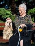 Alte Frau, die auf einer Bank mit cocker spaniel sitzt Lizenzfreie Stockfotografie
