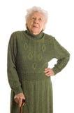 Alte Frau getrennt auf Weiß stockfoto