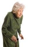 Alte Frau getrennt auf Weiß lizenzfreies stockfoto