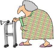Alte Frau mit einem Wanderer Lizenzfreie Stockfotografie