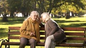Alte Frauen, die den Geheimnissen, sitzend auf Bank im Park, Freundschaft, goldene Jahre sagen stockbild