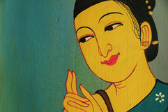 Alte Frauenkunst des Zeichnens auf die Wand Lizenzfreies Stockbild