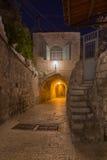 Alte Gasse im jüdischen Viertel, Jerusalem israel Mysteriöser Eingang zum neuen Leben Stockbild