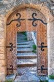 Alte geöffnete hölzerne Tür mit Treppen Lizenzfreie Stockbilder