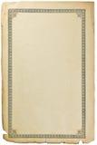 Alte gealterte grungy Buchpapier-Blattseite, aufwändiges Vignettenmuster, lokalisierter vertikaler Weinlesekopienraum Sepiahinter Stockfotos