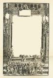 Alte gealterte grungy Buchpapierblatt-Seitenvignette, Rahmenhintergrund-Kopienraum Stockbilder