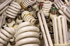 Alte gebrannte Leuchtstoff energiesparende Lampen Lizenzfreies Stockbild