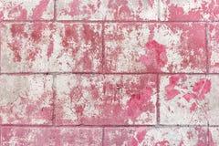 Alte gebrochene Betonmauer mit der Schale der magentaroten Farbenbeschaffenheit Stockfoto