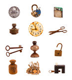 Alte Gegenstände und Werkzeuge Twelwe lokalisiert auf Weiß Lizenzfreie Stockbilder