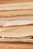 Alte gelbe haltene Papier-Aufzeichnungen Lizenzfreie Stockfotos
