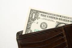 Alte Geldbörse mit Banknoten von US-Dollars nach innen Stockbild