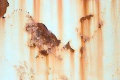 Alte gemalte Metallbeschaffenheit mit Spuren des Rosts Lizenzfreie Stockbilder