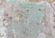 Alte gemalte Wand Grün- und Schadenoberfläche Schalenfarbenhintergrund Stein demaged Hintergrund Stockfotos