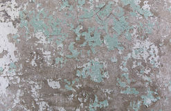 Alte gemalte Wand Grün- und Schadenoberfläche Schalenfarbenhintergrund Stein demaged Hintergrund Stockbild