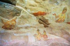 Alte geschädigte Malerei an Sigiriya-Felsen in Sigiriya, Sri Lanka stockfotografie